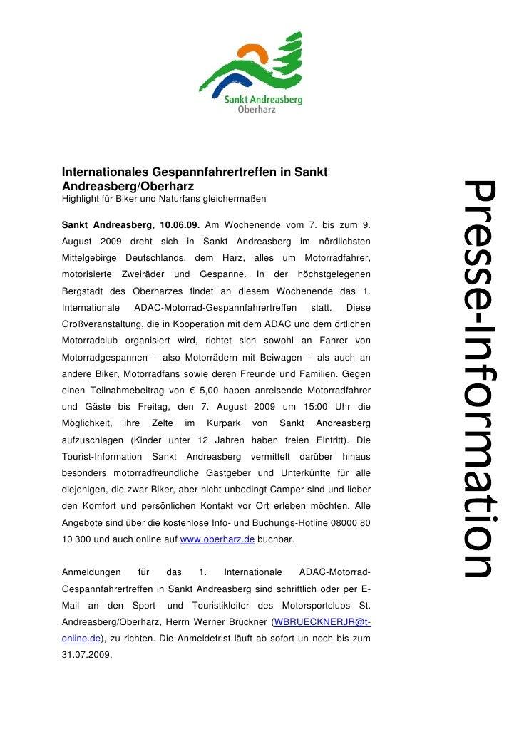 Internationales Gespannfahrertreffen in SanktAndreasberg/OberharzHighlight für Biker und Naturfans gleichermaßenSankt Andr...