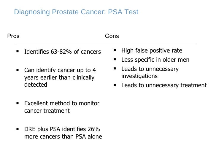 Diagnosing Prostate Cancer: PSA Test <ul><li>Identifies 63-82% of cancers  </li></ul><ul><li>Can identify cancer up to 4 y...
