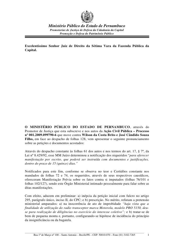 Ministério Público do Estado de Pernambuco                     Promotorias de Justiça de Defesa da Cidadania da Capital   ...