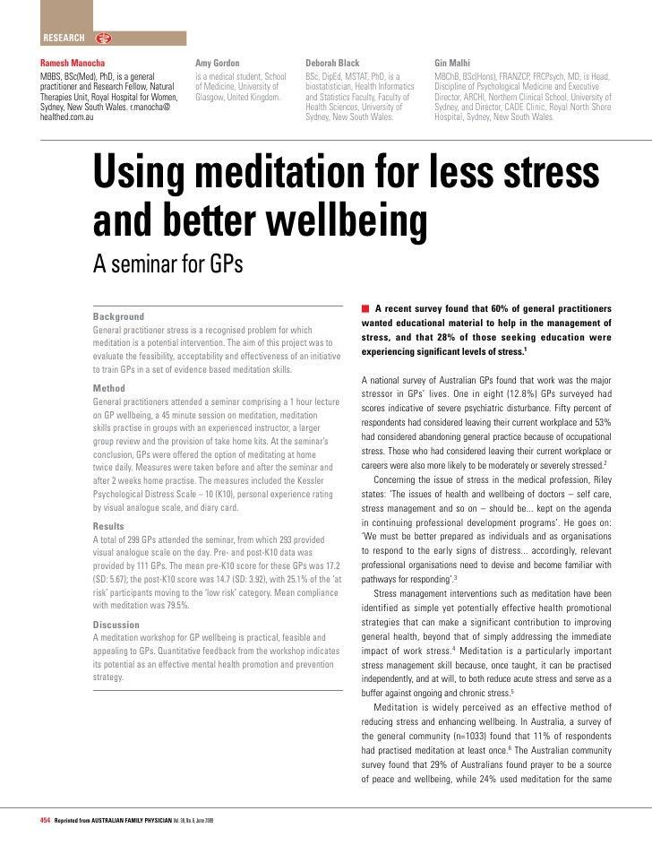 Research Sahaja Yoga Meditation And Medicine