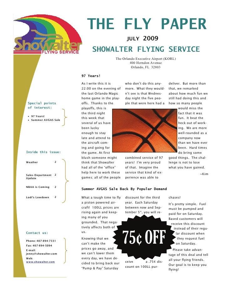 THE FLY PAPER                                                     JULY 2009                                SHOWALTER FLYIN...