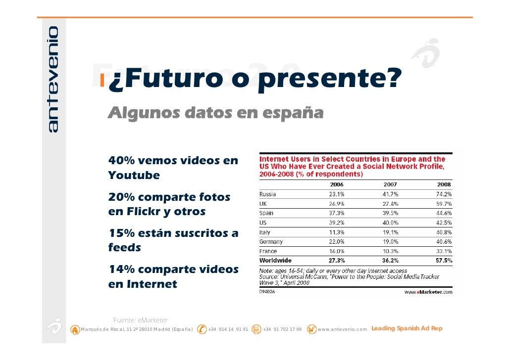 Entornoo2.0      ¿Futuro presente?            Algunos datos en españa             40% vemos videos en            Youtube  ...