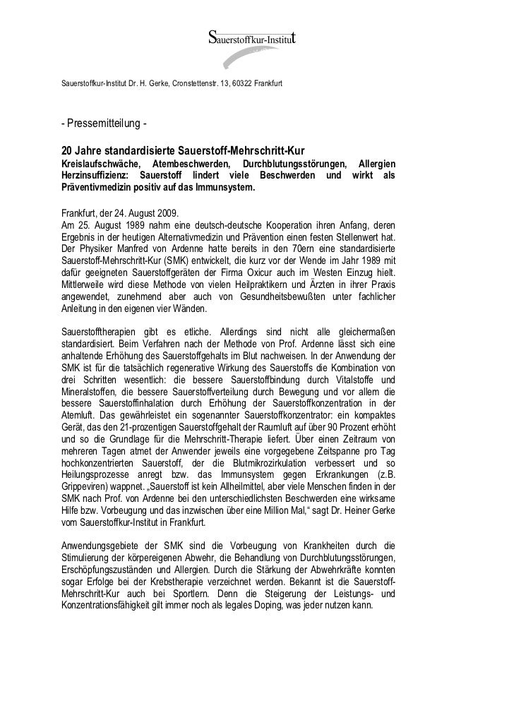Sauerstoffkur-Institut Dr. H. Gerke, Cronstettenstr. 13, 60322 Frankfurt- Pressemitteilung -20 Jahre standardisierte Sauer...
