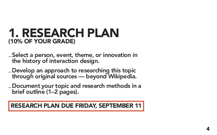 1. RESEARCH PLAN (10% OF YOUR GRADE)  _ Select a person, event, theme, or innovation in   the history of interaction desig...