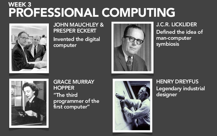 WEEK 3 PROFESSIONAL COMPUTING          JOHN MAUCHLEY &        J.C.R. LICKLIDER          PRESPER ECKERT         Defined the...