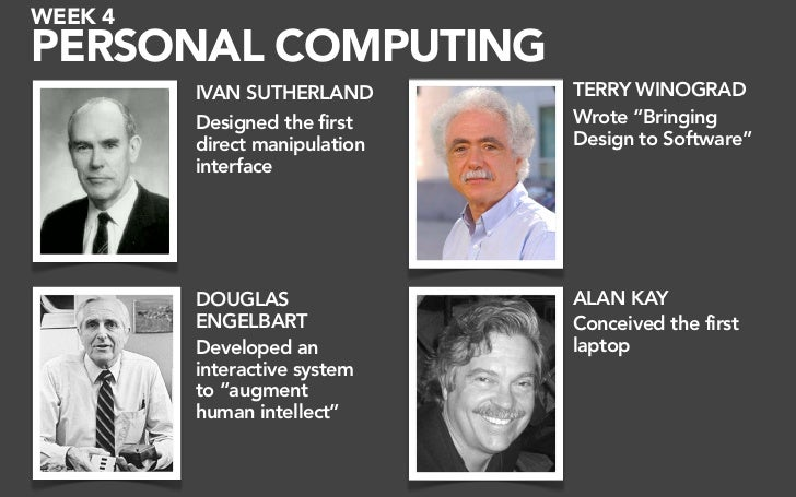 "WEEK 4 PERSONAL COMPUTING          IVAN SUTHERLAND       TERRY WINOGRAD          Designed the first    Wrote ""Bringing    ..."