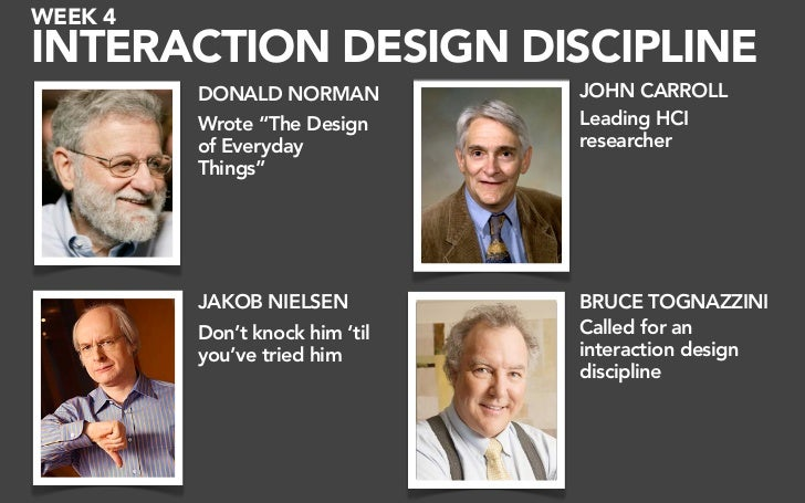 "WEEK 4 INTERACTION DESIGN DISCIPLINE          DONALD NORMAN          JOHN CARROLL          Wrote ""The Design      Leading ..."