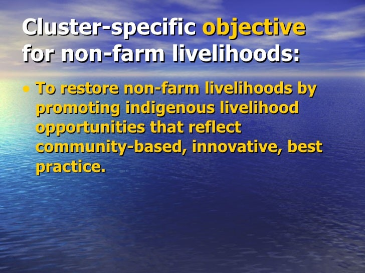 Cluster-specific  objective  for non-farm livelihoods: <ul><li>To restore non-farm livelihoods by promoting indigenous liv...
