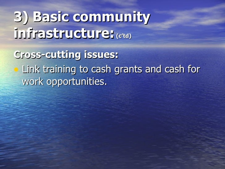 3) Basic community infrastructure:  (c'td) <ul><li>Cross-cutting issues: </li></ul><ul><li>Link training to cash grants an...