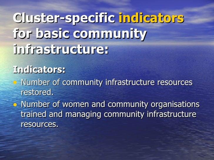 Cluster-specific  indicators  for basic community infrastructure: <ul><li>Indicators: </li></ul><ul><li>Number of communit...