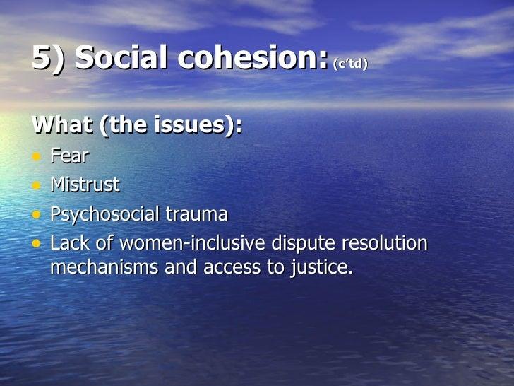 5) Social cohesion:  (c'td) <ul><li>What (the issues): </li></ul><ul><li>Fear </li></ul><ul><li>Mistrust </li></ul><ul><li...