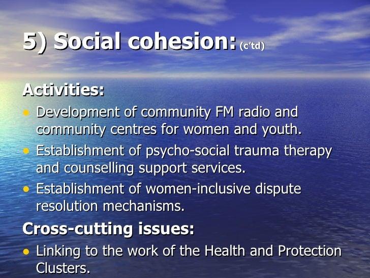 5) Social cohesion:  (c'td) <ul><li>Activities: </li></ul><ul><li>Development of community FM radio and community centres ...