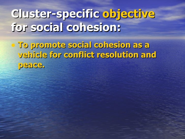 Cluster-specific  objective  for social cohesion: <ul><li>To promote social cohesion as a vehicle for conflict resolution ...
