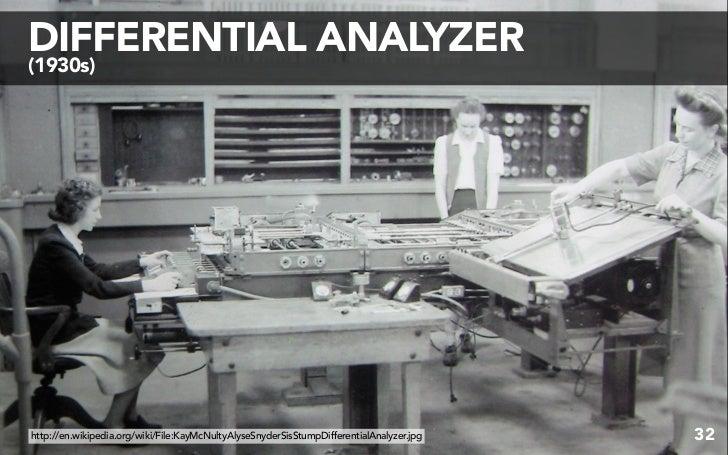 DIFFERENTIAL ANALYZER (1930s)     http://en.wikipedia.org/wiki/File:KayMcNultyAlyseSnyderSisStumpDifferentialAnalyzer.jpg ...