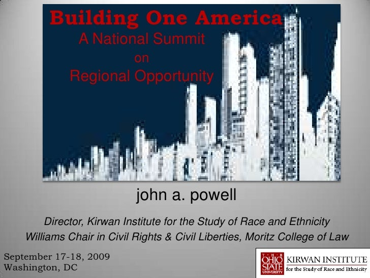 Building One America               A National Summit                            on             Regional Opportunity       ...