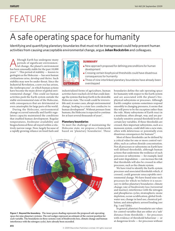 Vol 461|24 September 2009FEATUREA safe operating space for humanityIdentifying and quantifying planetary boundaries that m...