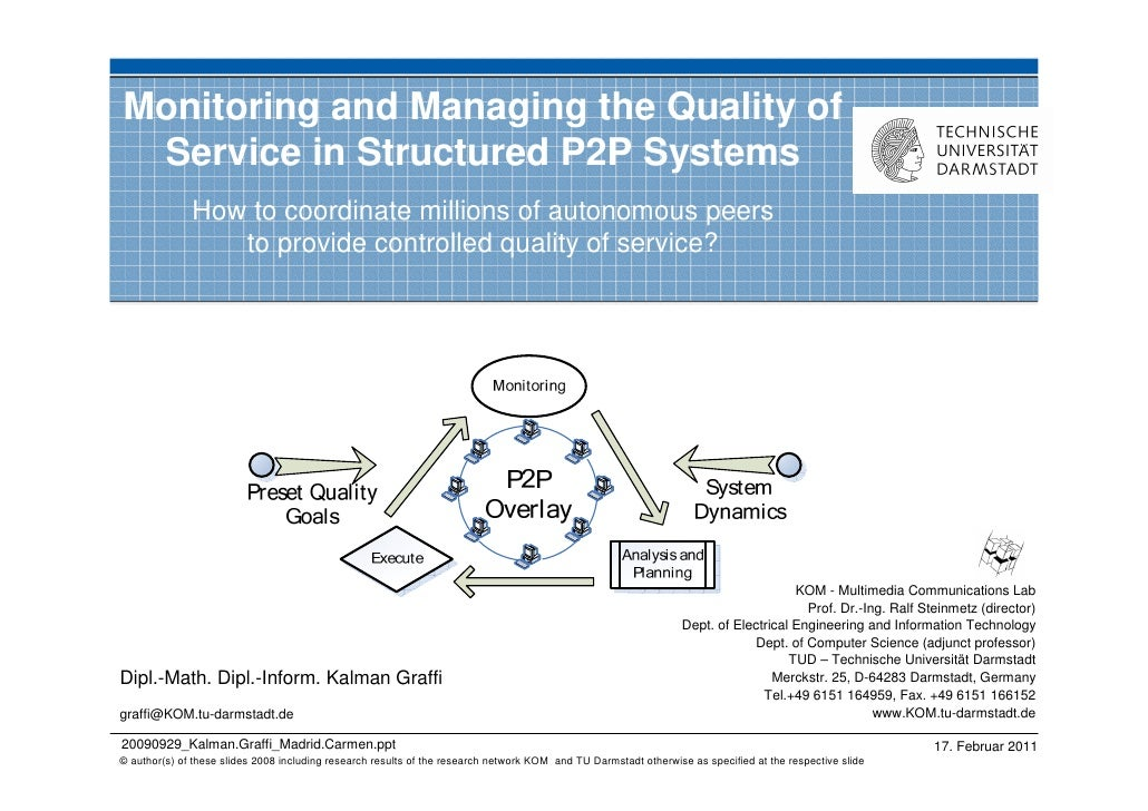 Monitoring and Managing the Quality of Service in Structured P2P Systems              How to coordinate millions of autono...