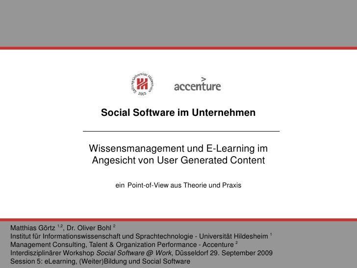 Social Software im Unternehmen Wissensmanagement und E-Learning im  Angesicht von User Generated Content ein   Point-of-Vi...