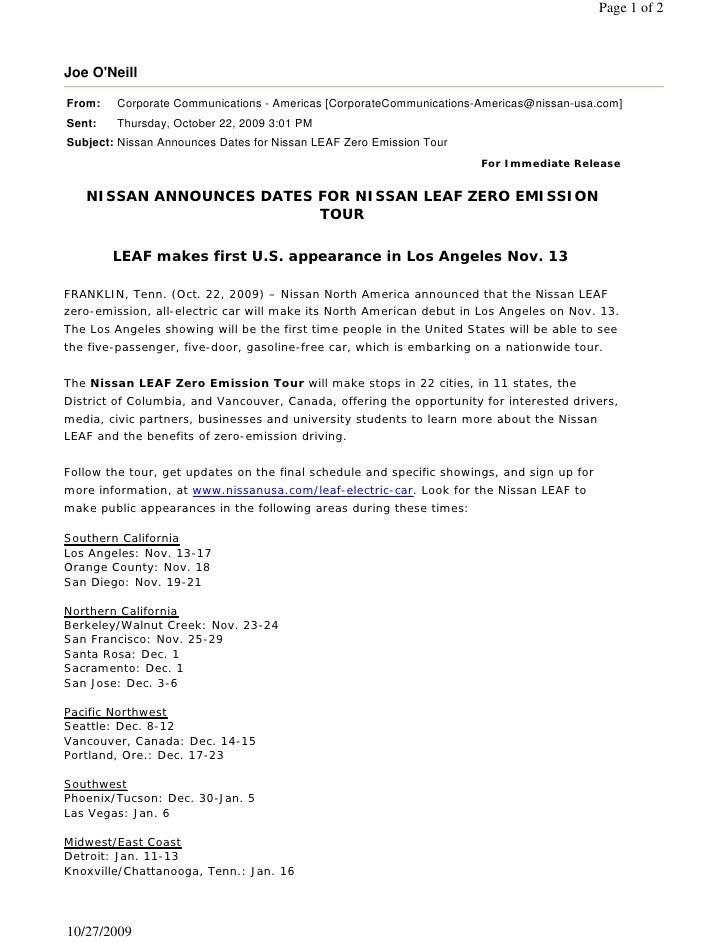 Page 1 of 2    Joe O'Neill  From:   Corporate Communications - Americas [CorporateCommunications-Americas@nissan-usa.com] ...