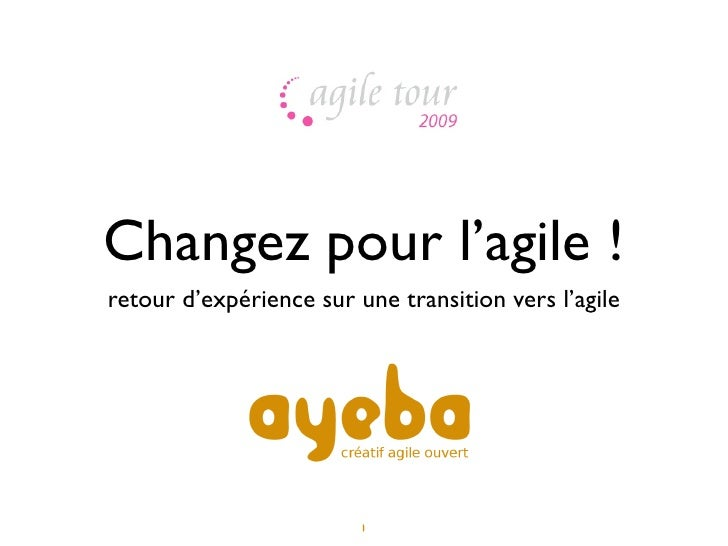 Changez pour l'agile ! retour d'expérience sur une transition vers l'agile                              1