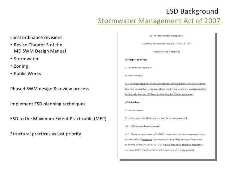 Environmental Site Design Esd Presentation