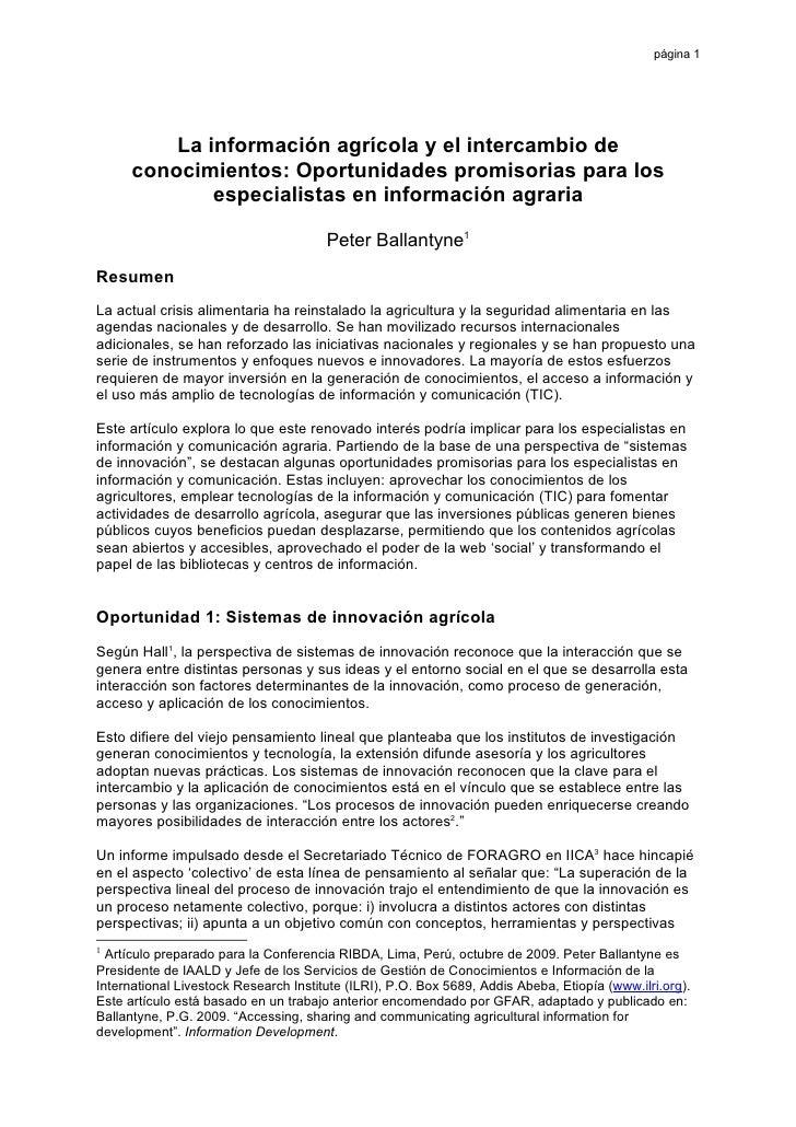 página 1               La información agrícola y el intercambio de       conocimientos: Oportunidades promisorias para los...