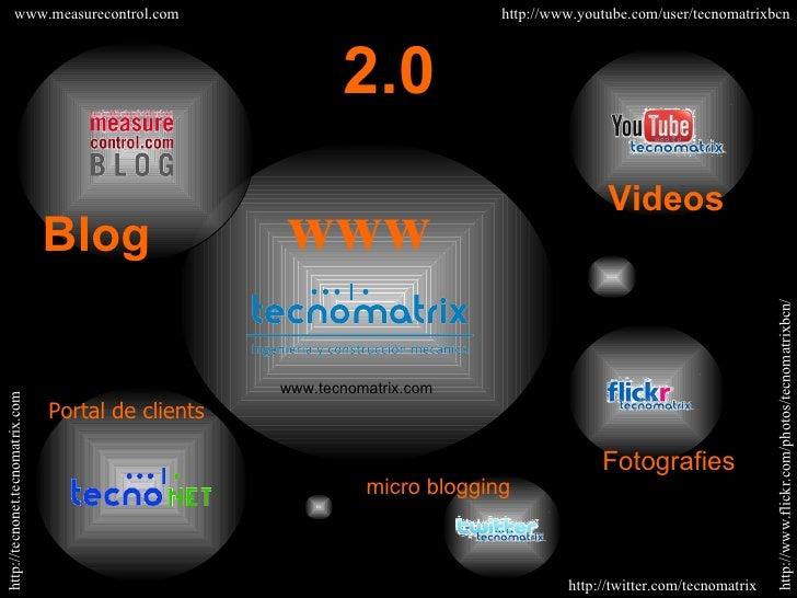 Blog Portal de clients www.measurecontrol.com http://tecnonet.tecnomatrix.com 2.0 Fotografies micro blogging www www.tecno...
