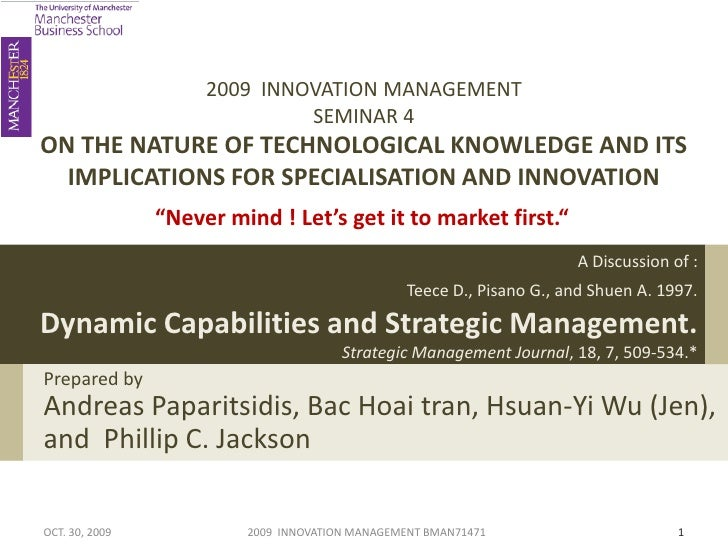 2009 INNOVATION MANAGEMENT                              SEMINAR 4ON THE NATURE OF TECHNOLOGICAL KNOWLEDGE AND ITS  IMPLICA...