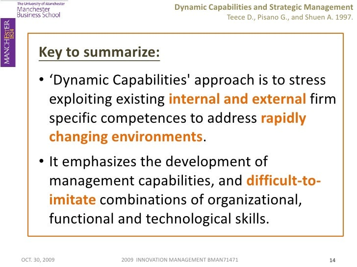 summary dynamic capabilities and strategic management teece Dynamic capabilities and strategic management dj teece, g pisano, a shuen   explicating dynamic capabilities: the nature and microfoundations of.