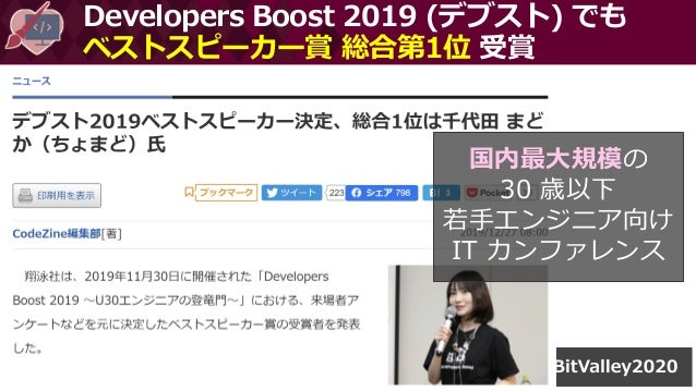 Developers Boost 2019 (デブスト) でも ベストスピーカー賞 総合第1位 受賞 国内最大規模の 30 歳以下 若手エンジニア向け IT カンファレンス