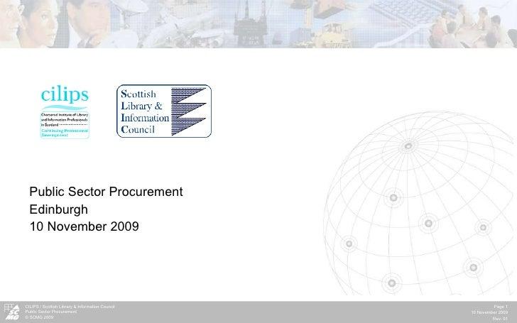 Public Sector Procurement  Edinburgh 10 November 2009