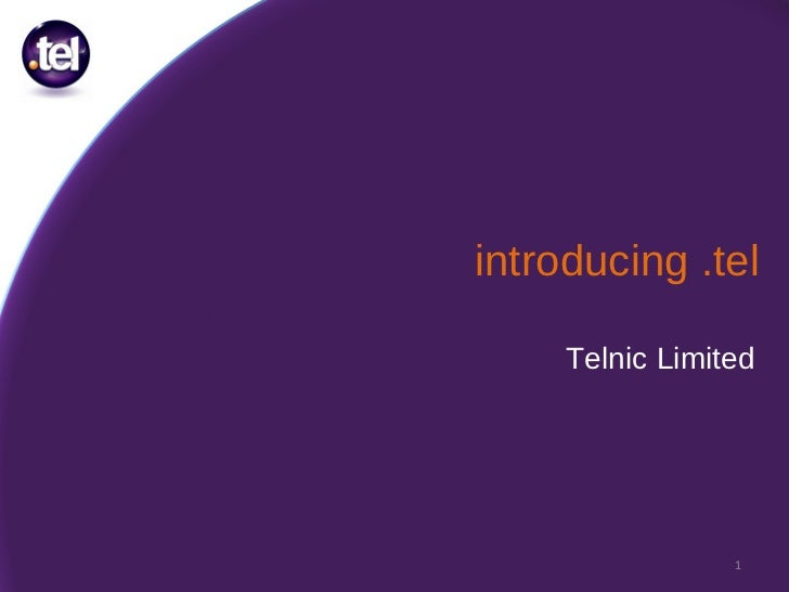 introducing .tel Telnic Limited
