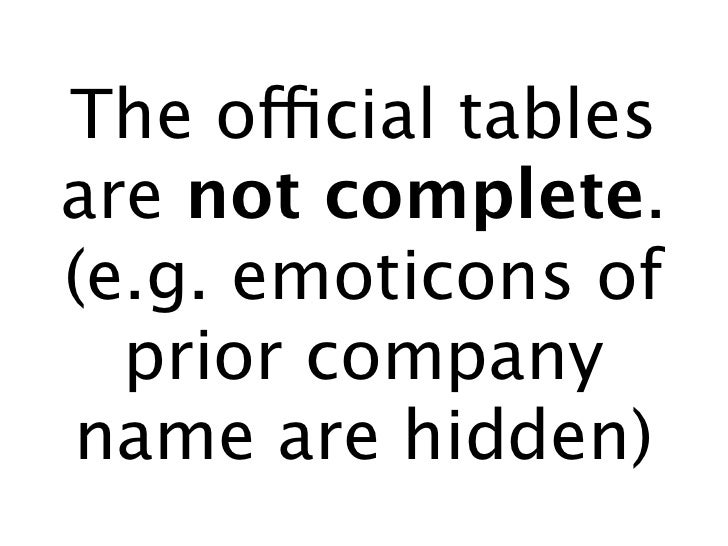 The official tables are not complete. (e.g. emoticons of   prior company name are hidden)