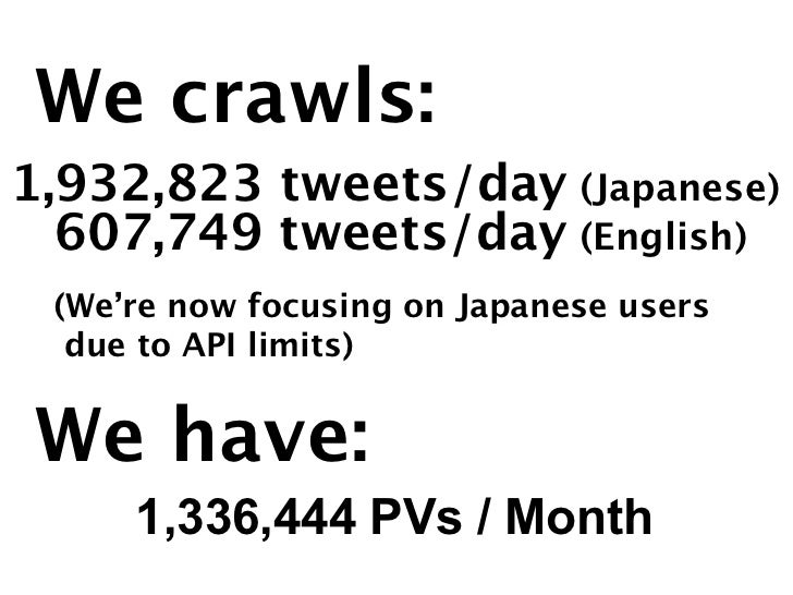 We crawls:1,932,823 tweets/day (Japanese)  607,749 tweets/day (English) (We're now focusing on Japanese users  due to API ...