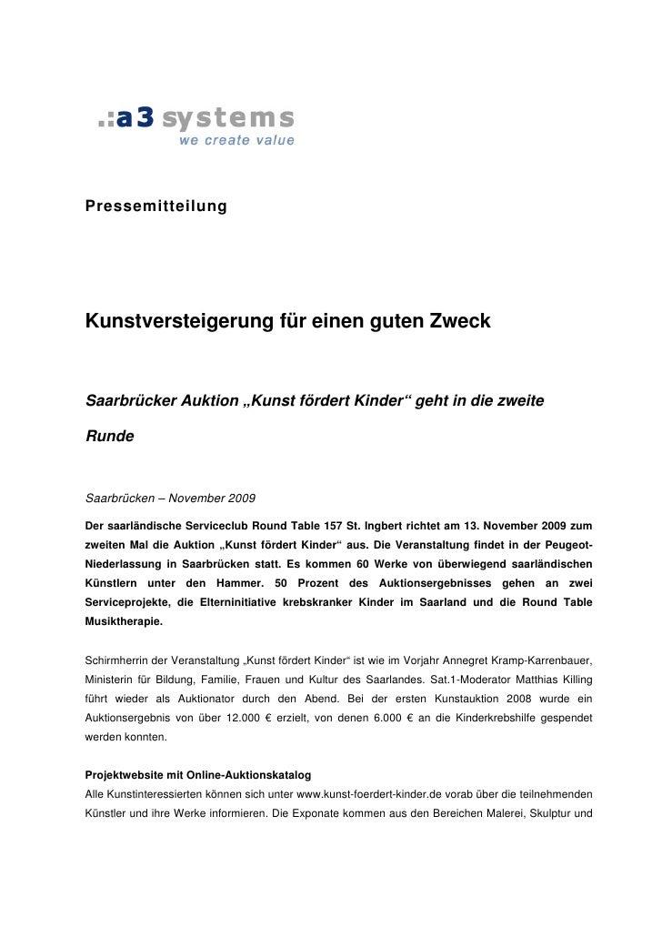 """Pressemitteilung     Kunstversteigerung für einen guten Zweck   Saarbrücker Auktion """"Kunst fördert Kinder"""" geht in die zwe..."""