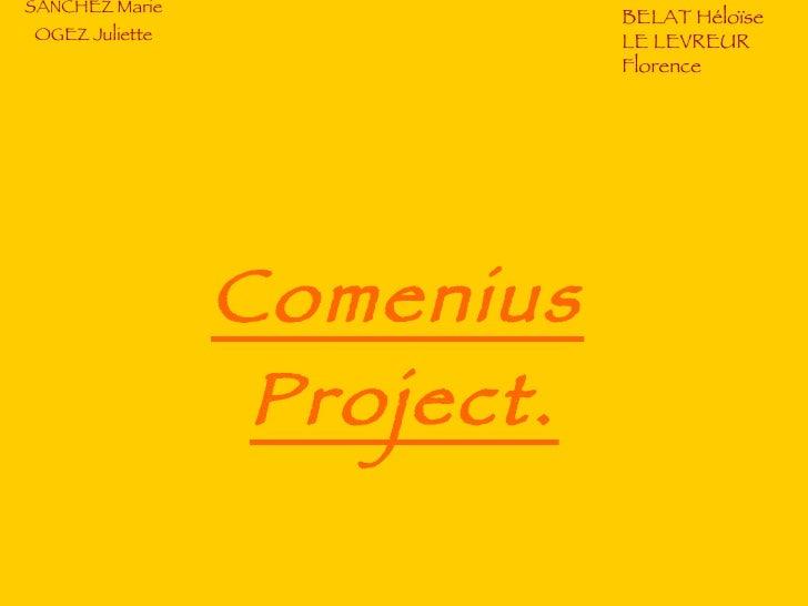 SANCHEZ Marie OGEZ Juliette Comenius Project.   BELAT Héloïse LE LEVREUR Florence