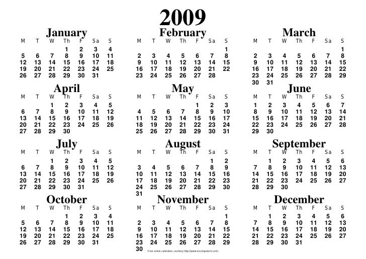 January                                                    2009                                                    Februar...