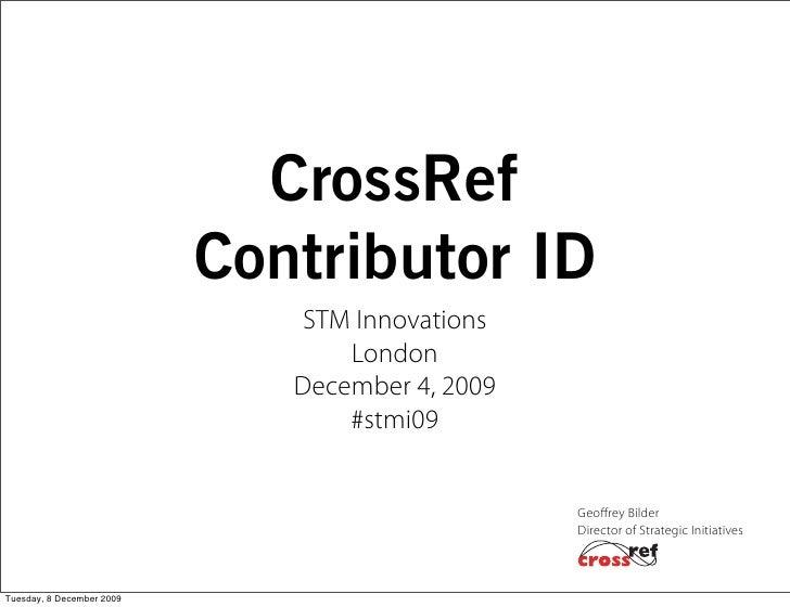 CrossRef                            Contributor ID                                STM Innovations                         ...