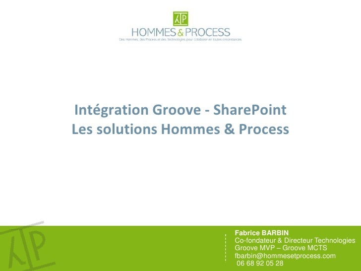 Intégration Groove - SharePointLes solutions Hommes & Process<br />Fabrice BARBIN <br />Co-fondateur & Directeur Technolog...