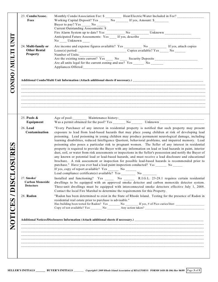 2009 12 10 Ri Real Estate Sales Disclosure Form