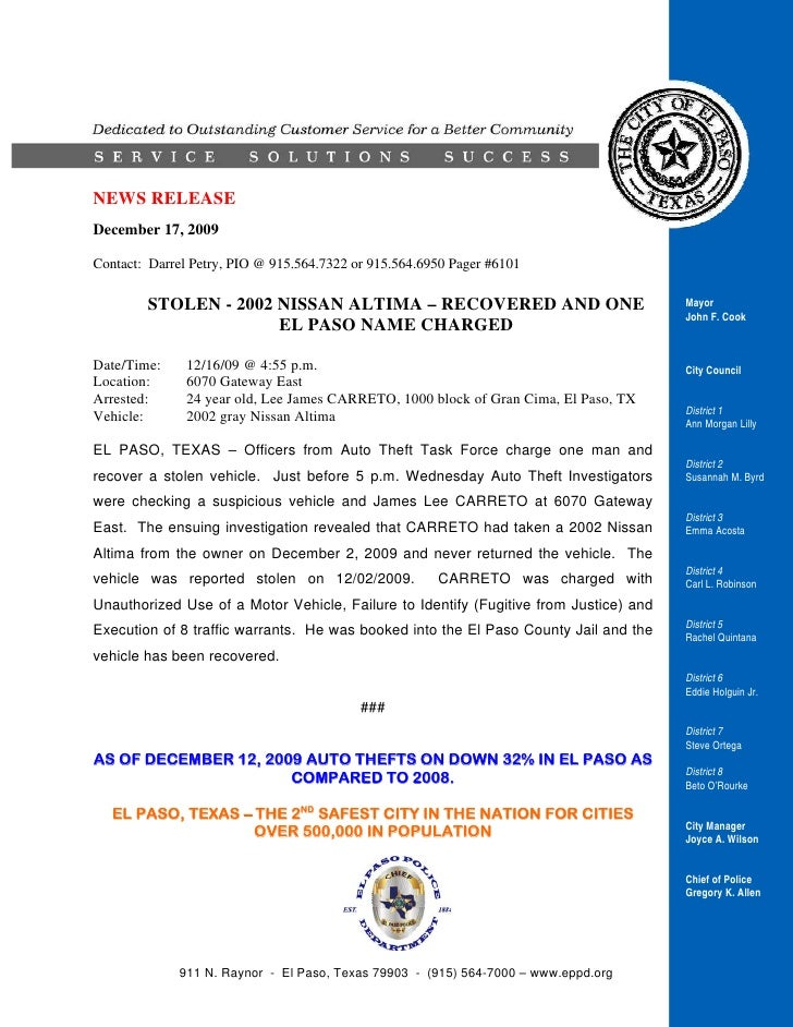 NEWS RELEASE December 17, 2009  Contact: Darrel Petry, PIO @ 915.564.7322 or 915.564.6950 Pager #6101          STOLEN - 20...