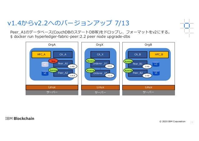 28 Peer_A1のデータベース(CouchDBのステートDB等)をドロップし、フォーマットをv2にする。 $ docker run hyperledger-fabric-peer:2.2 peer node upgrade-dbs v1.4...