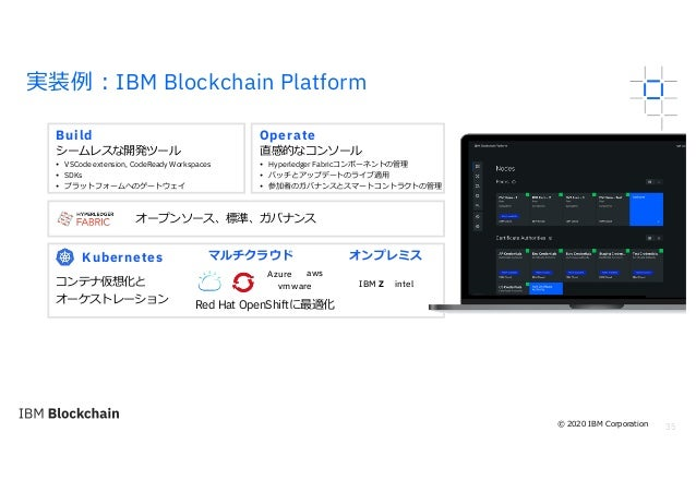 35 実装例︓IBM Blockchain Platform 3 5 Build シームレスな開発ツール Operate 直感的なコンソール オープンソース、標準、ガバナンス Kubernetes コンテナ仮想化と オーケストレーション マルチ...