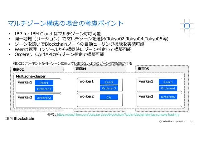 50 マルチゾーン構成の場合の考慮ポイント • IBP for IBM Cloud はマルチゾーン対応可能 • 同⼀地域(リージョン)でマルチゾーンを選択(Tokyo02,Tokyo04,Tokyo05等) • ゾーンを跨いでBlockchai...