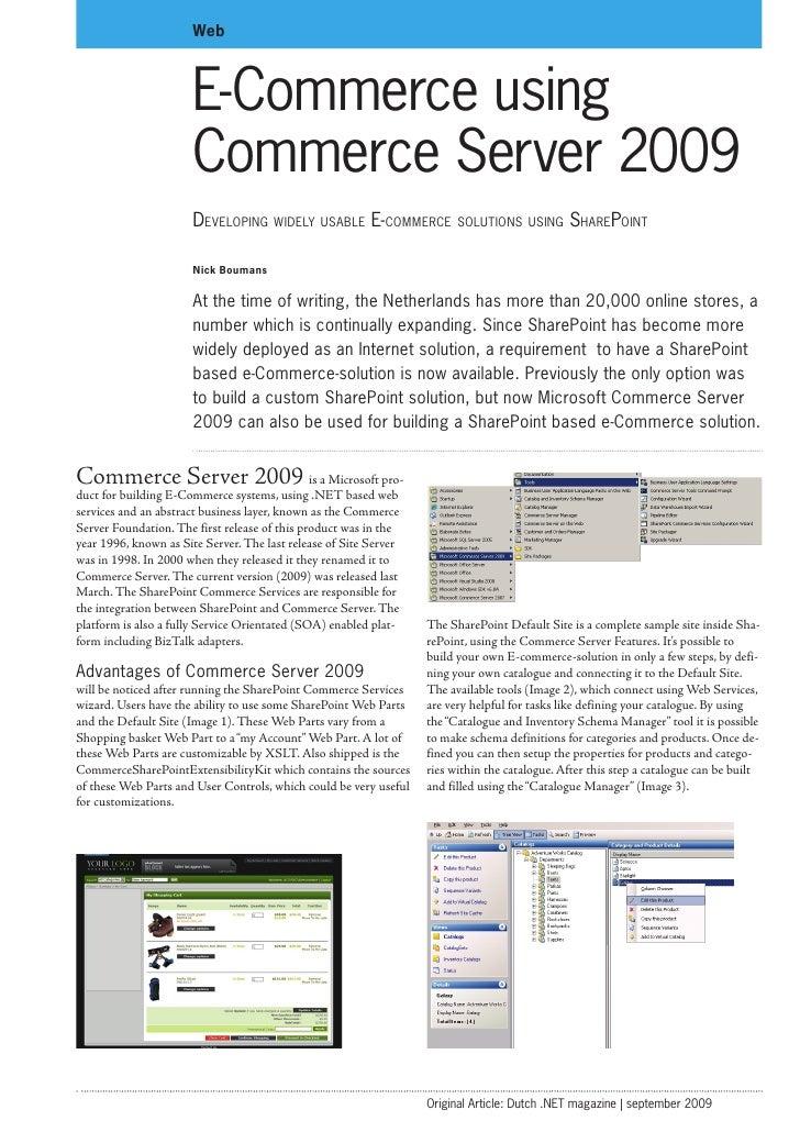 Web                           E-Commerce using                        Commerce Server 2009                        Developi...
