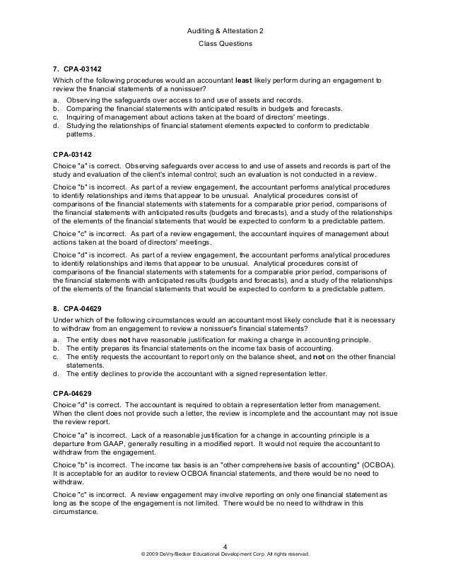 2009 a 2 class questions preview for Cpa review engagement letter