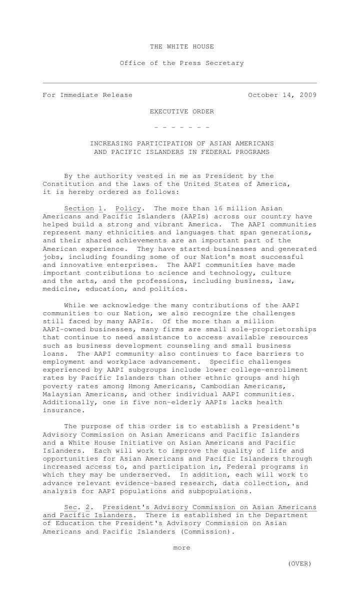 THE WHITE HOUSE                    Office of the Press Secretary    For Immediate Release                             Octo...