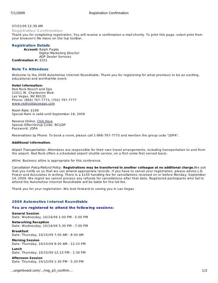 7/1/2009                                          Registration Confirmation   07/01/09 12:39 AM Registration Confirmation ...