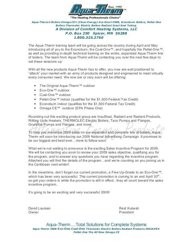 2009 Announcement Letter