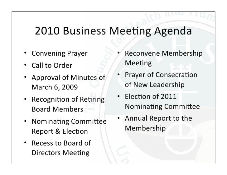 chhsm business meeting and 2009 annual report